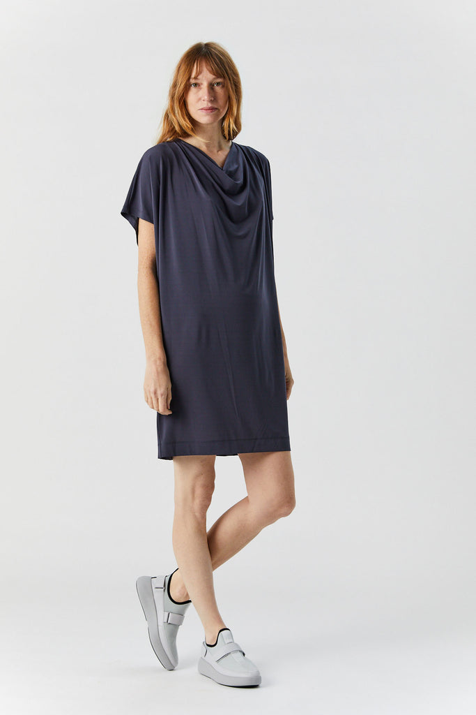 Drape Jersey Dress, Dark Grey