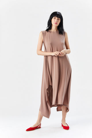Drape Jersey Dress, Dark Beige