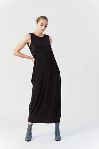 Drape Jersey Maxi Dress, Black