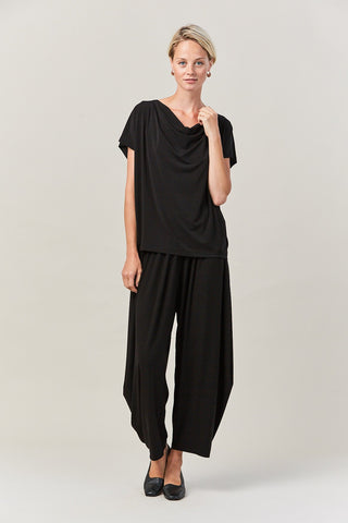 draped jersey top, BLACK