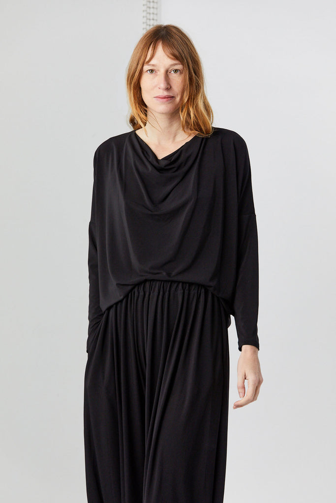 Long Sleeve Drape Jersey Top, Black