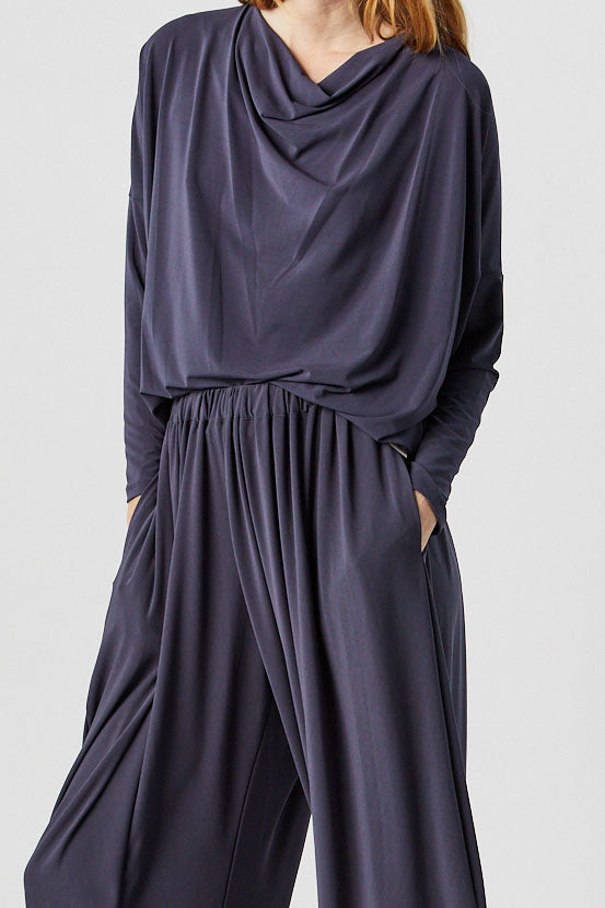 Long Sleeve Drape Jersey Top, Dark Grey