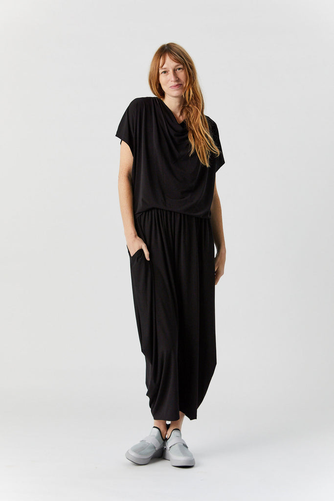 Short Sleeve Drape Jersey Top, Black