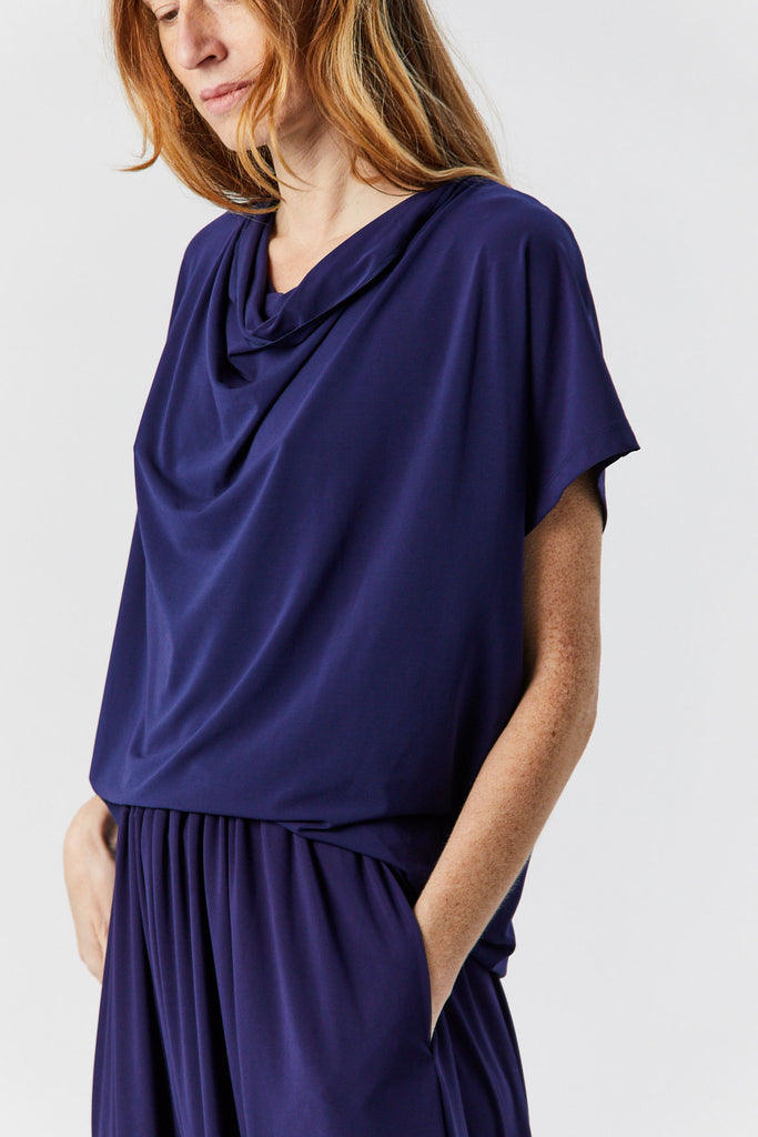 Short Sleeve Drape Jersey Top, Navy