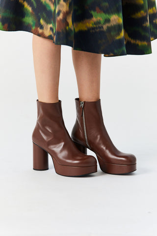 Platform Ankle Boot, Brown