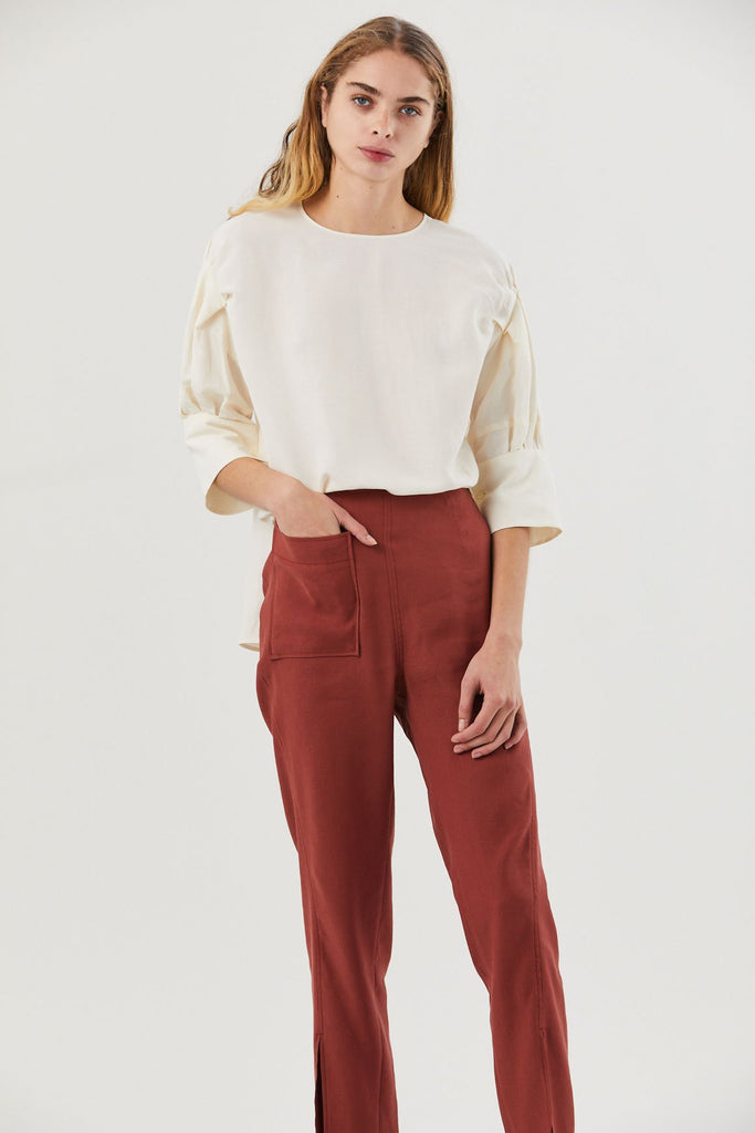 Gyre Ruffle Sleeve Blouse, Natural