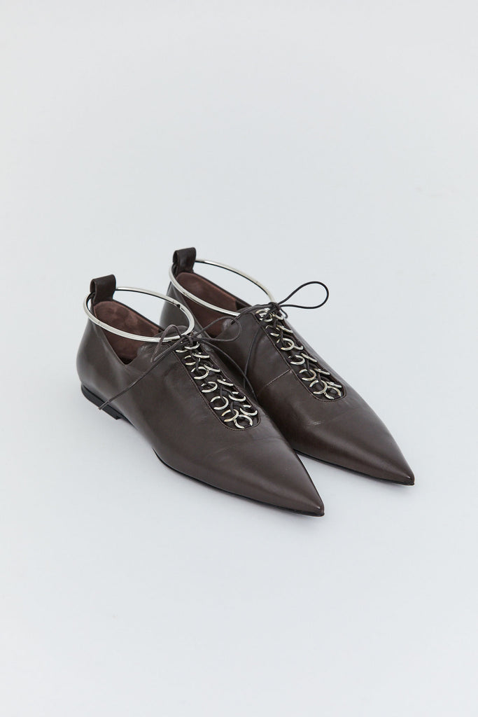 JIL SANDER - Lace Up Flat, Brown