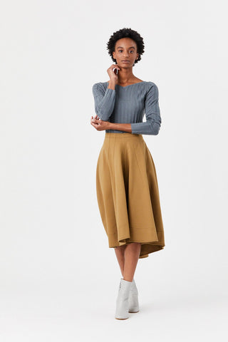 Flared Midi Skirt, Dark Beige