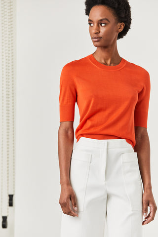Short Sleeve Sweater, Orange