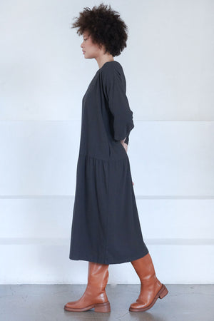 Black Crane - easy dress, dark grey