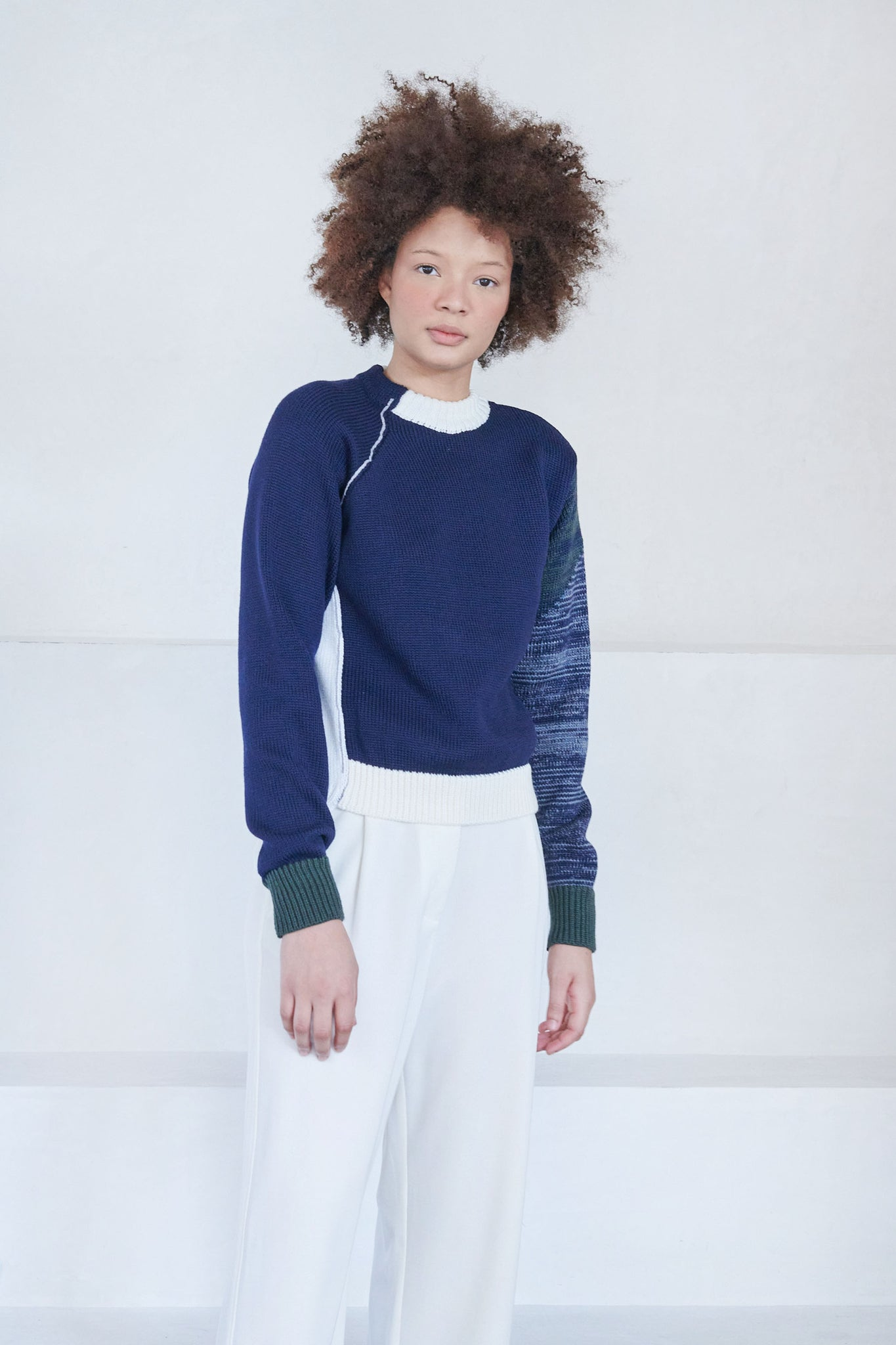 LOROD - marled sleeve sweater, navy and Olive