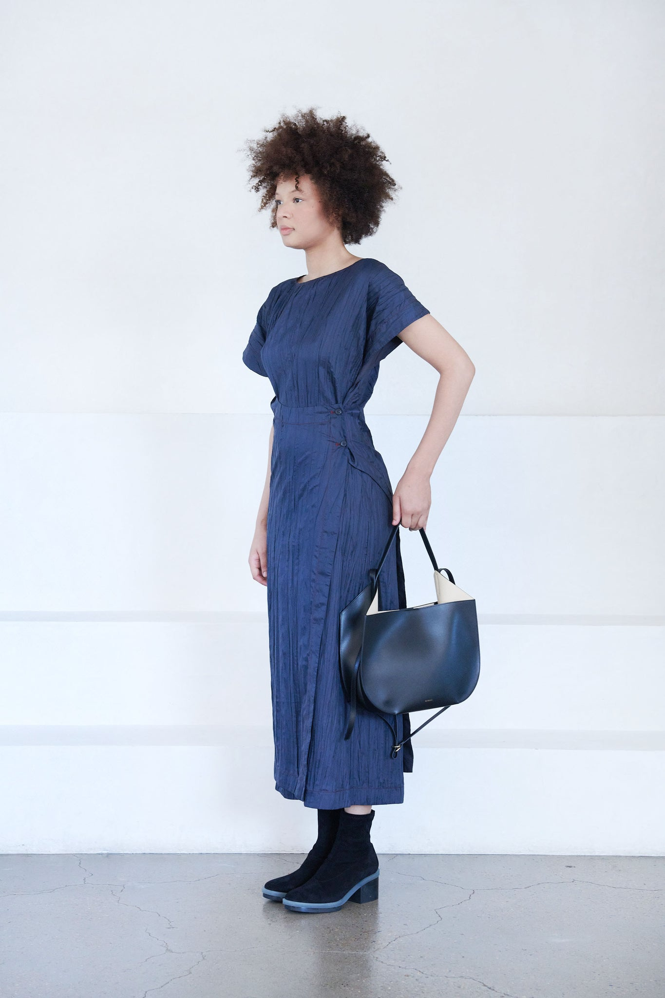 LOROD - asymmetrical wrap dress, graphite