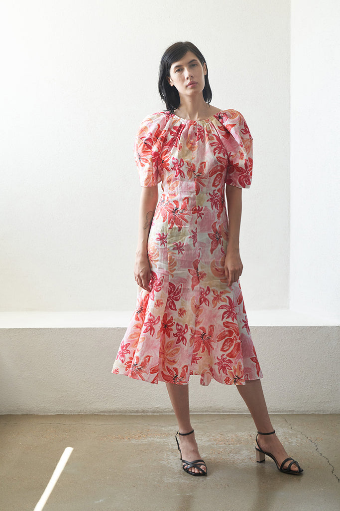 Bossa Nova print puff sleeve dress