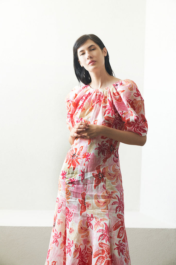 MARNI - floral puff sleeve dress, pink
