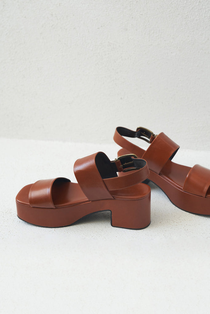 DRIES VAN NOTEN - platform sandal, rust