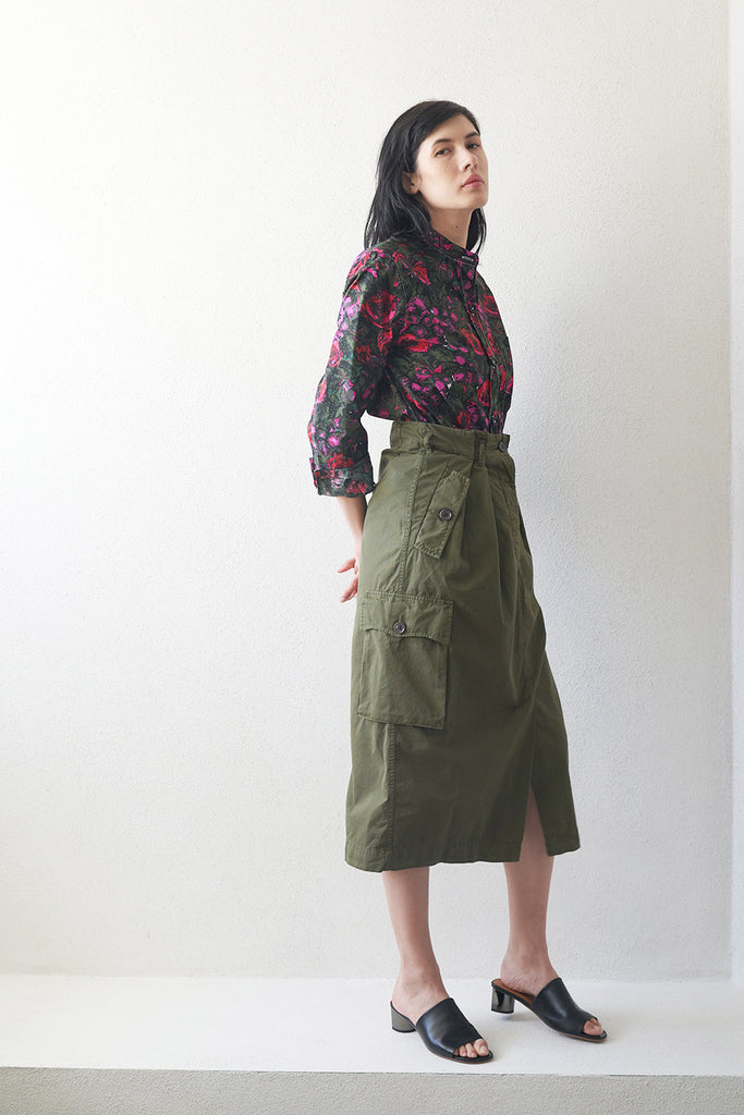 DRIES VAN NOTEN - cargo skirt, khaki