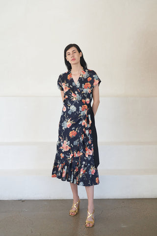 delft wrap dress, navy