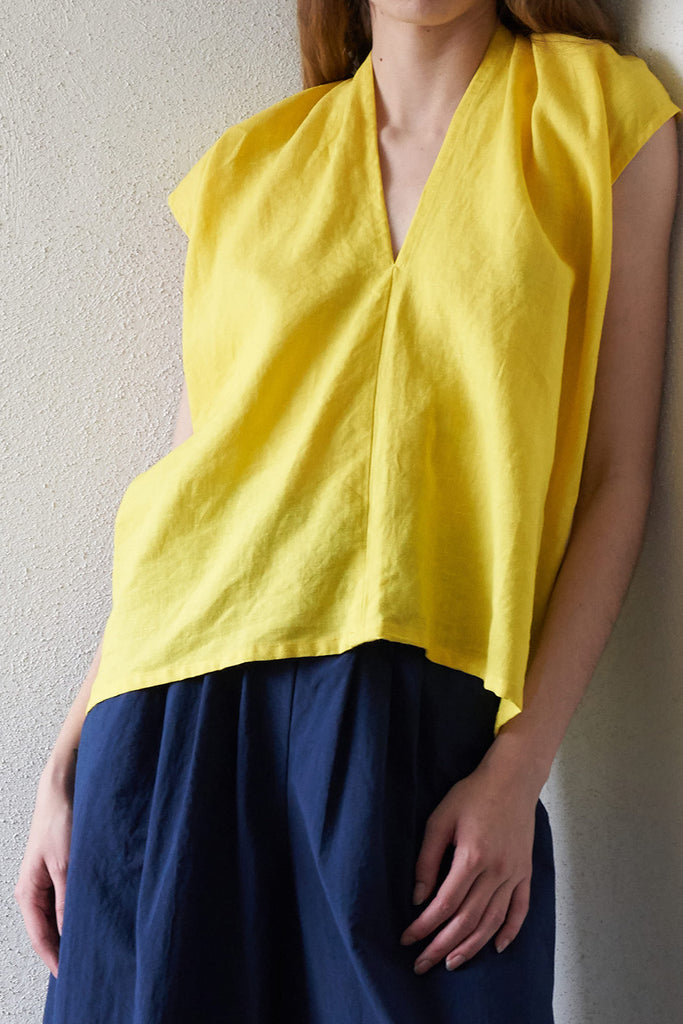 MIRANDA BENNETT - everyday linen top, citron
