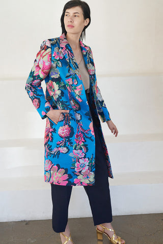 jacquard floral coat, blue