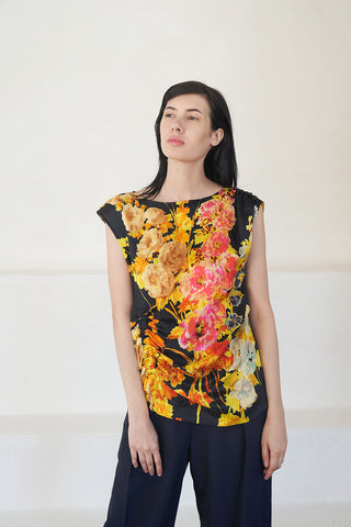 CETO floral blouse, black