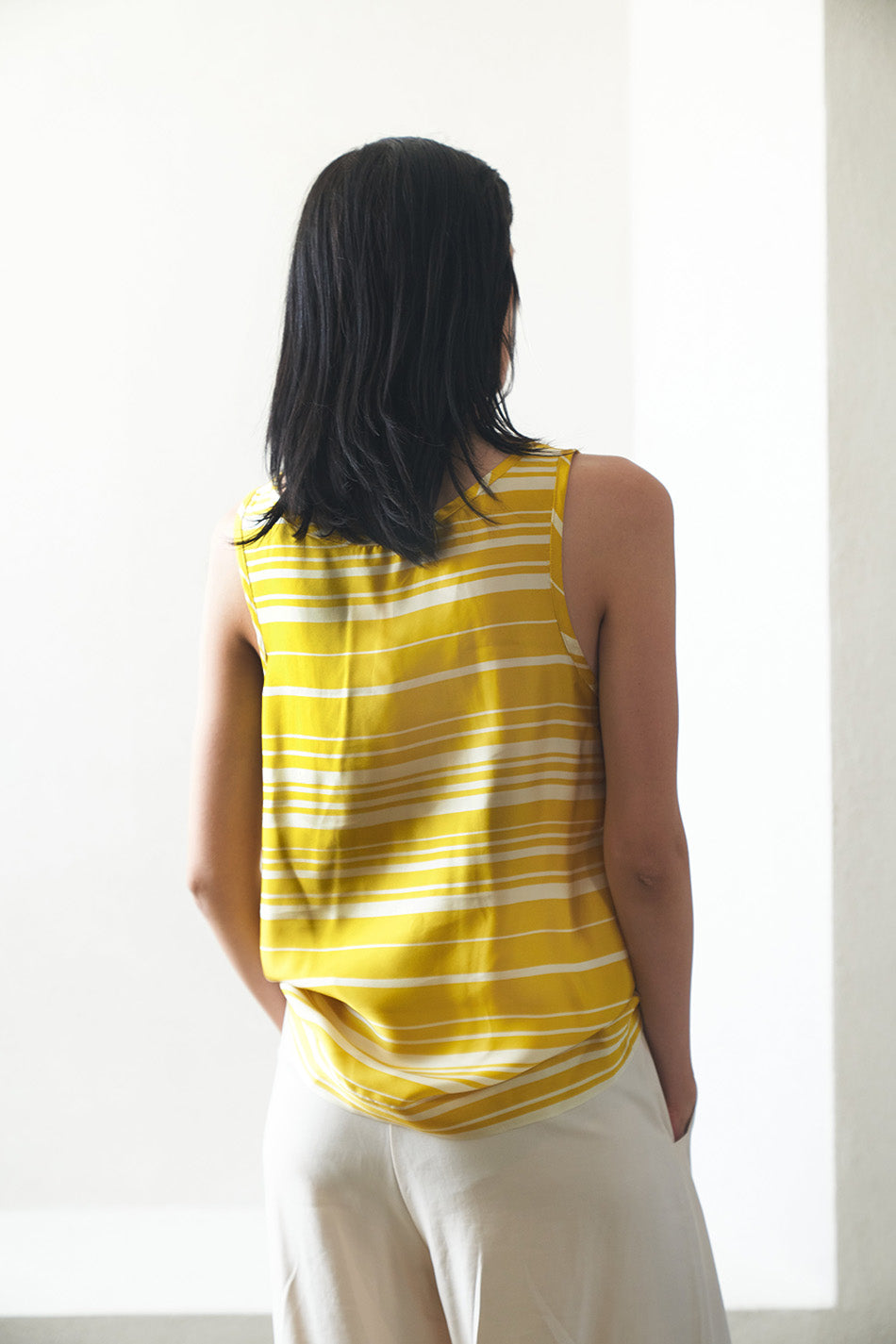DRIES VAN NOTEN - striped tank, yellow