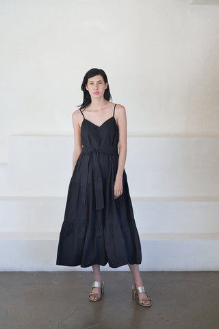 marjana spaghetti maxi dress, black