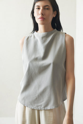 petal dropped arm tank, Light Gray