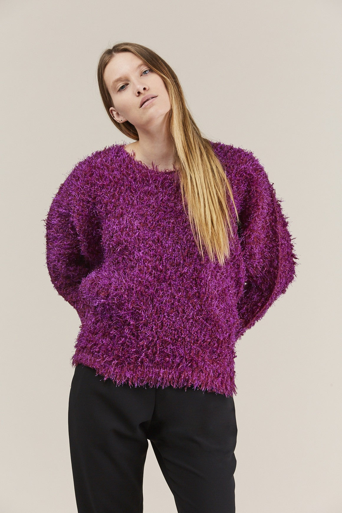 Fuzzy Sweater, Pink by Pleats Please by Issey Miyake @ Kick Pleat - 1