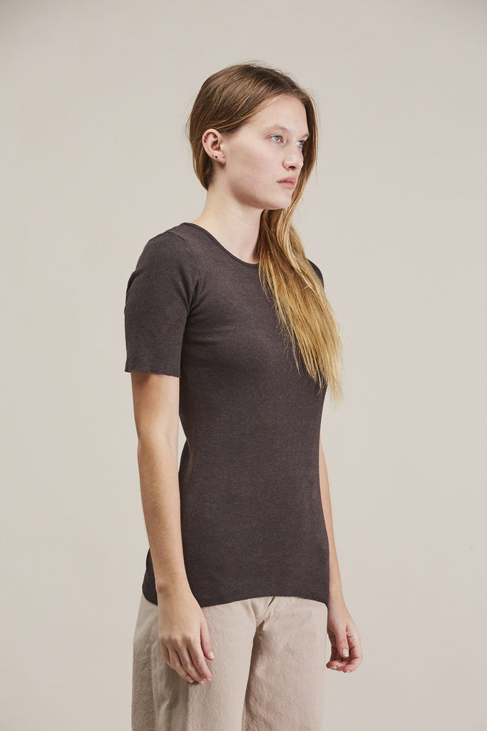 Rib tee, Charcoal by Lauren Manoogian @ Kick Pleat - 3