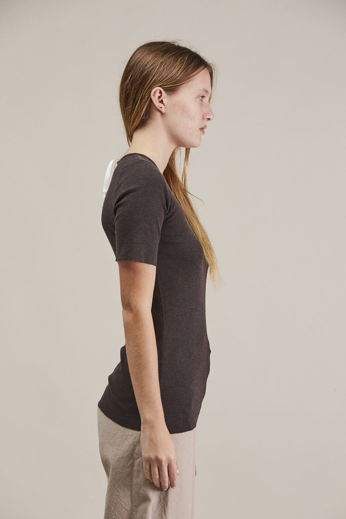 Rib tee, Charcoal by Lauren Manoogian @ Kick Pleat - 4