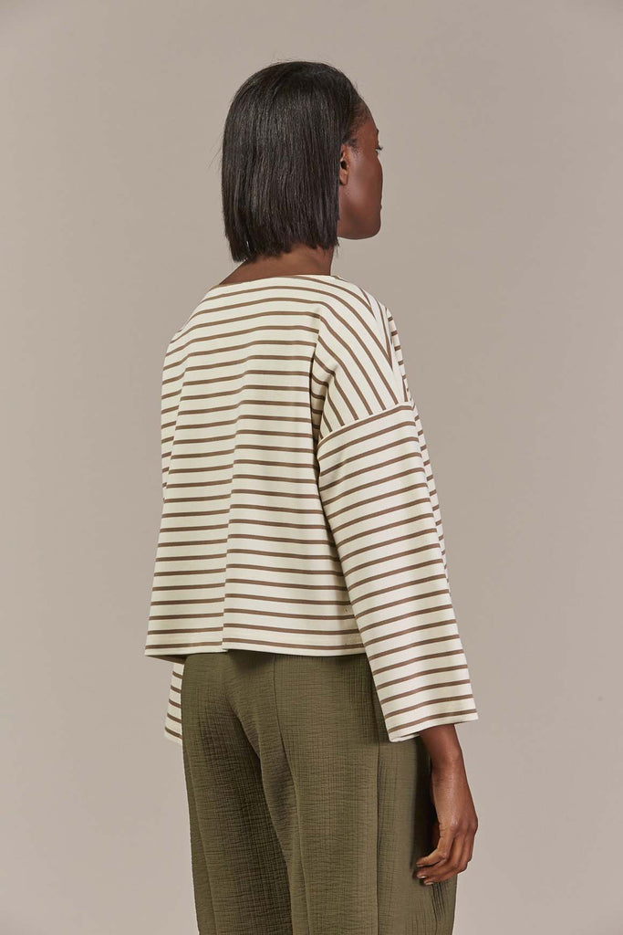 Snana L/S blouse, Ecru/Brown - Samuji