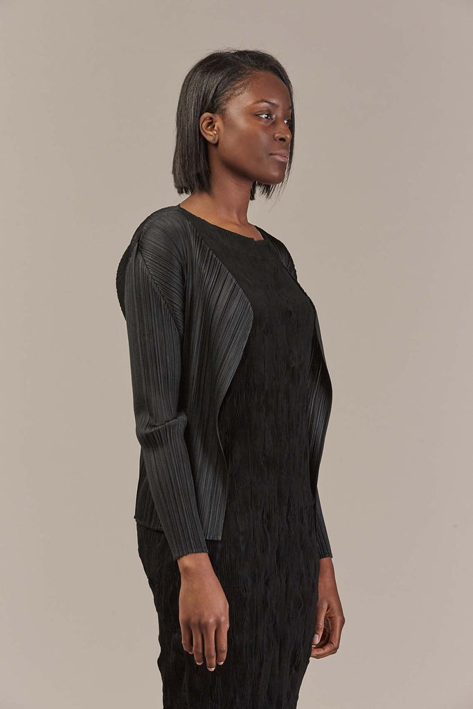 Basic Pleated Cardigan in Black by Pleats Please by Issey Miyake