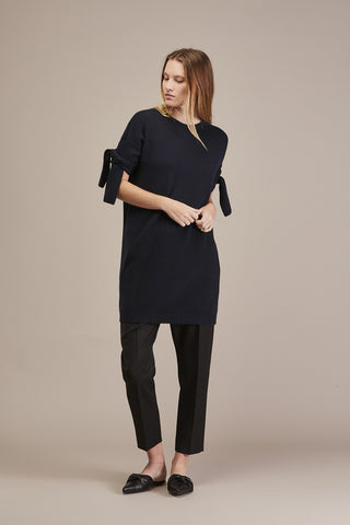 Cashmere Knit Tie tunic, Dark Blue