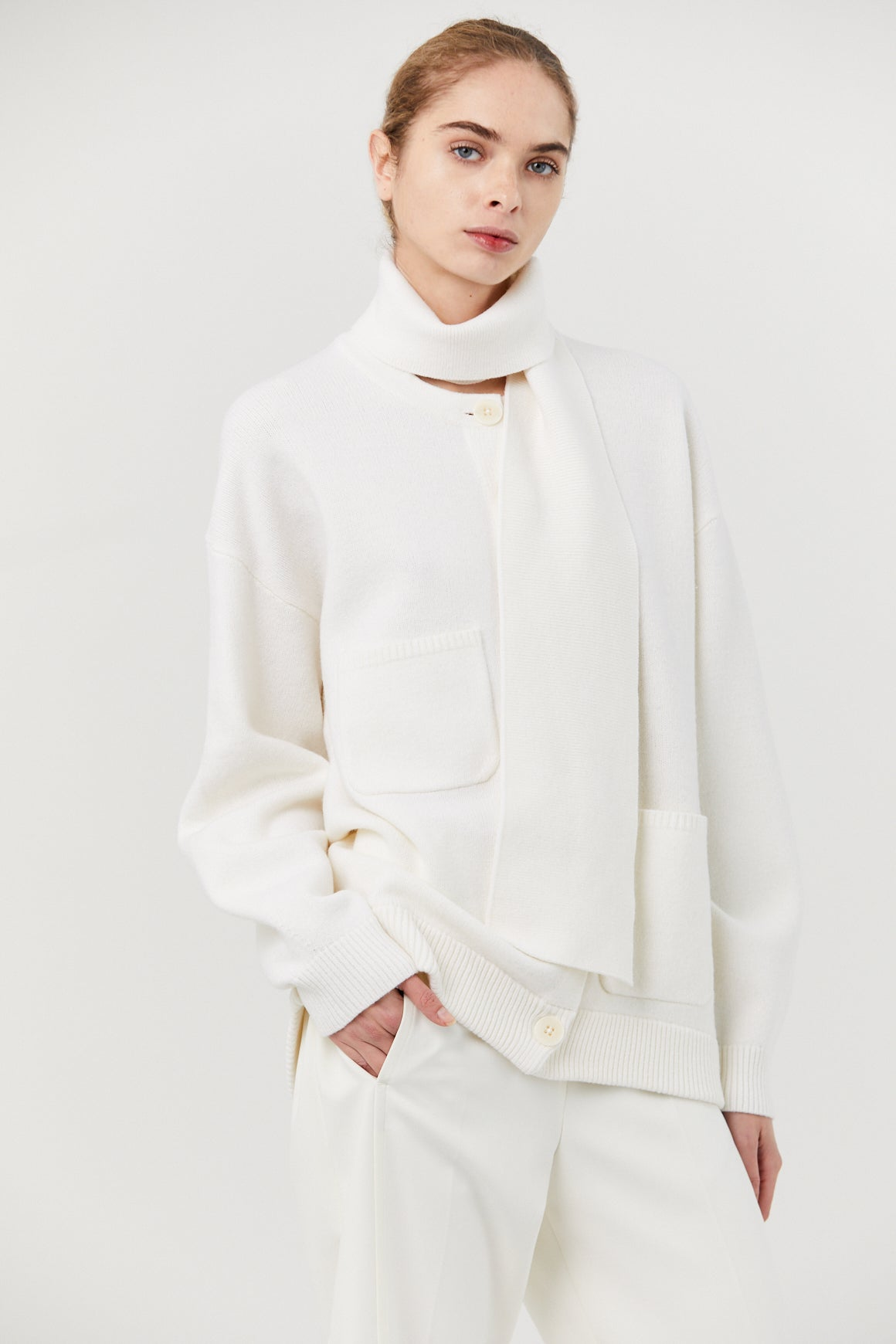 TIBI - AIRY WOOL OVERSIZED CARDIGAN