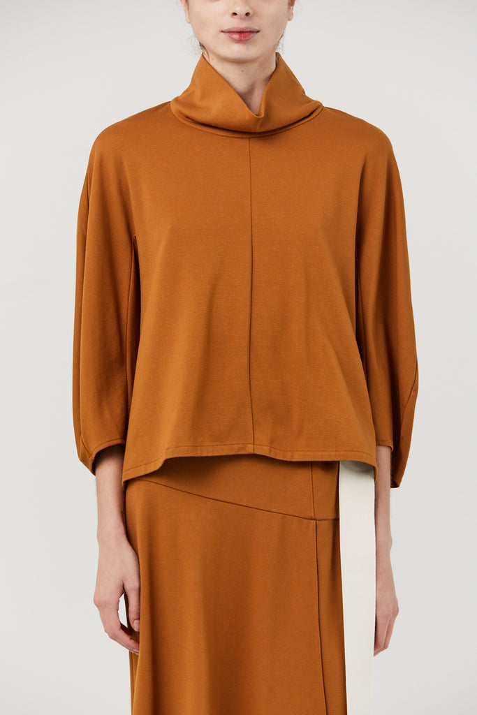 TIBI - PONTE FUNNEL NECK SCULPTED TOP