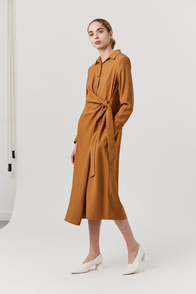 VISCOSE TWILL SHIRTDRESS, CARAMEL