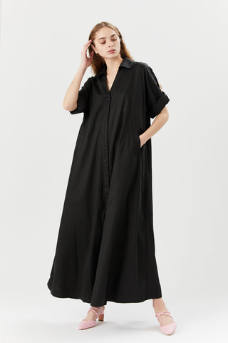 Collared Rolled Sleeve Dress, Black