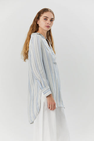 Linen Stripe Popover Shirt, Blue