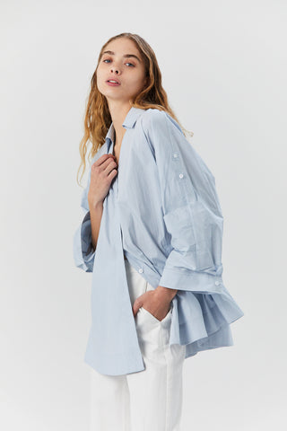 Rolled Sleeve Poplin Shirt, Blue