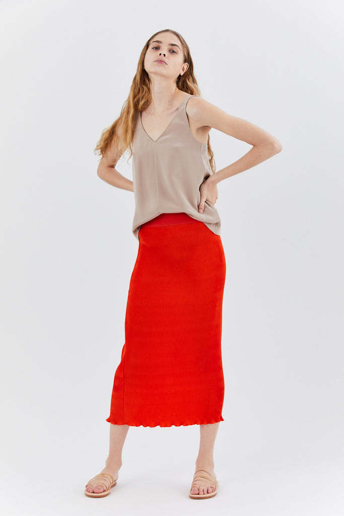 Micro Pleat Skirt, Poppy Red