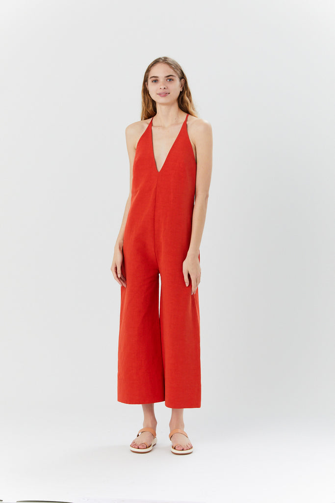 V Neck Jumpsuit, Poppy