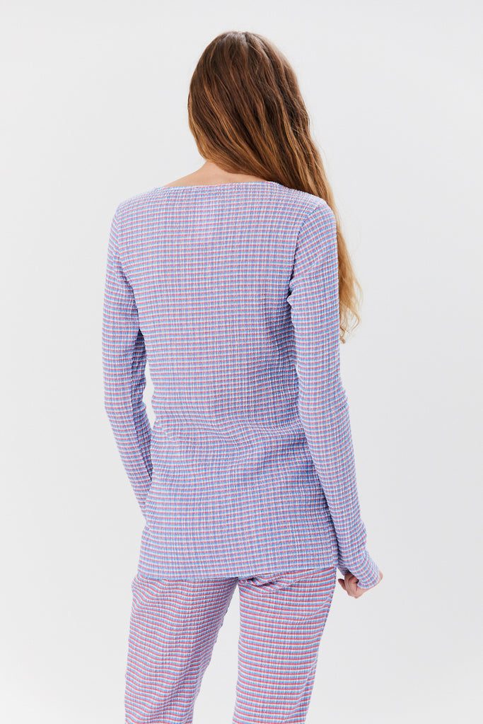 NOMIA DESIGN - Long Sleeved Knit Top, Pink and Blue Multi