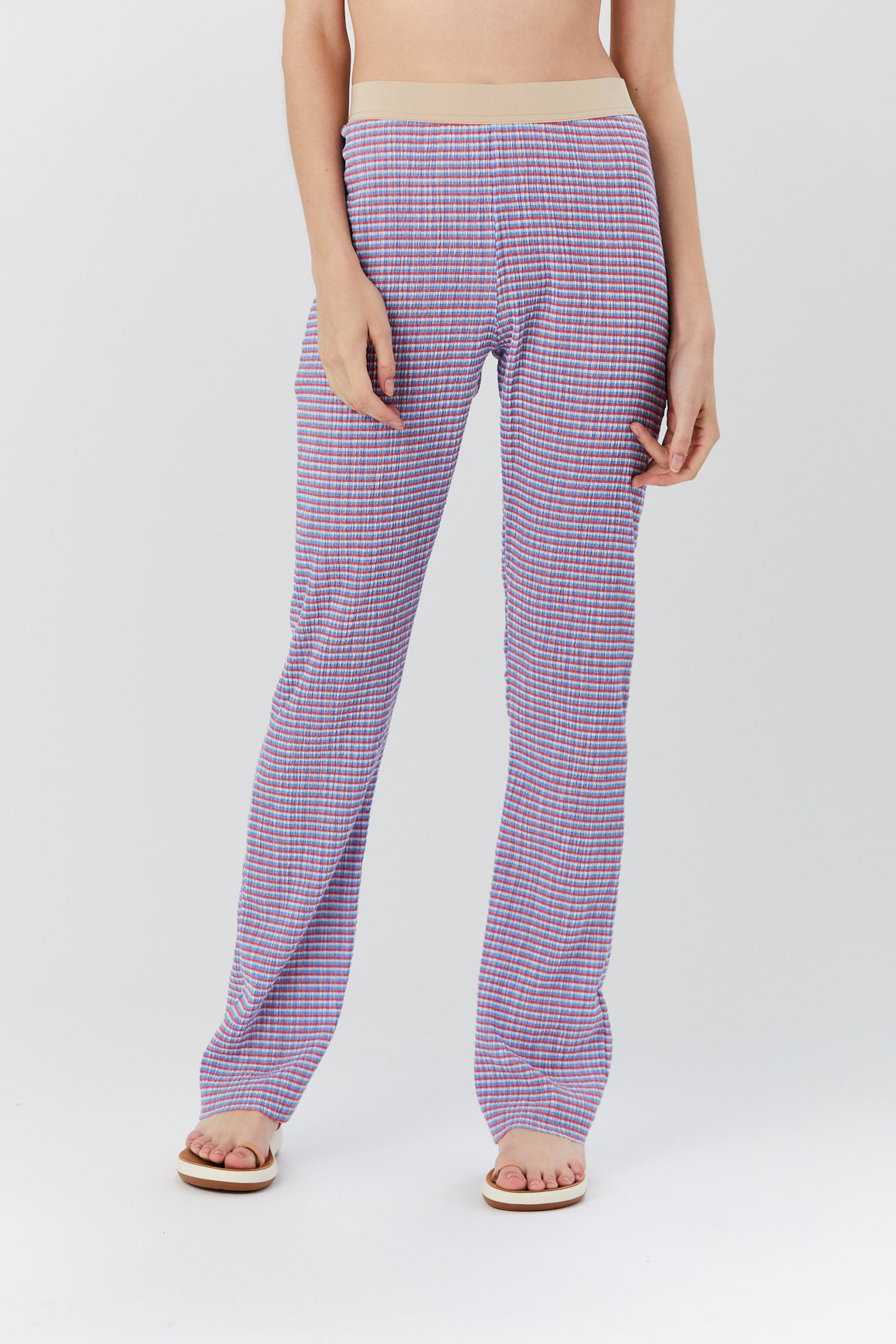 Long Knit Pants, Pink and Blue Multi