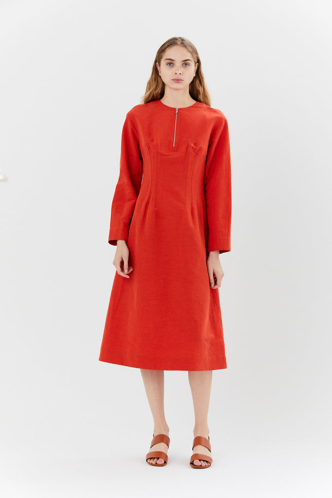 Long Sleeve Darted Dress, Poppy Red