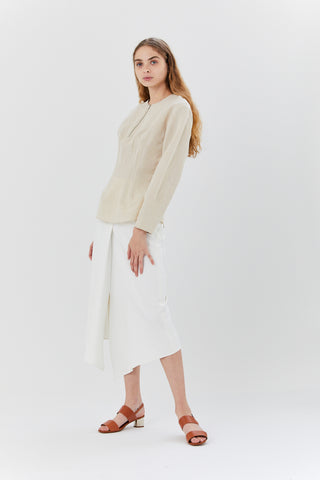 Anson Stretch Drape Skirt, Ivory