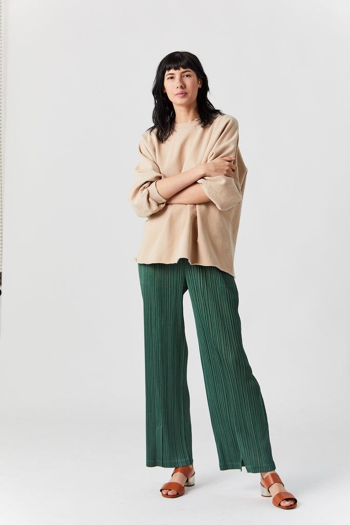 Pleats Monthly Colors Pants, Green