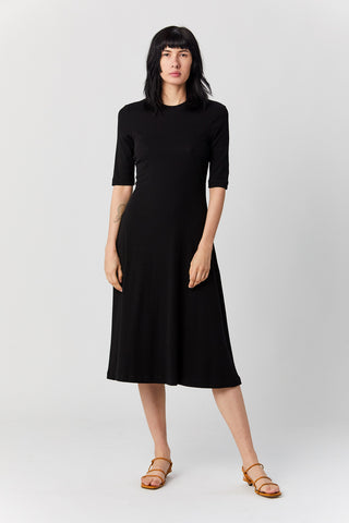 Cropped Sleeve t shirt dress, Black