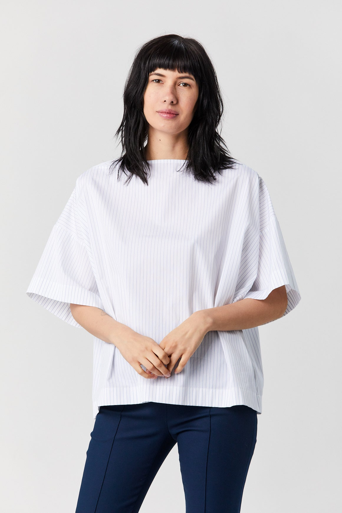 ROSETTA GETTY - Caftan t-shirt, White with navy stripes
