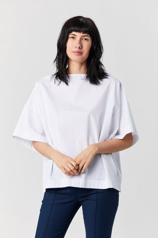 Caftan t-shirt, White with navy stripes
