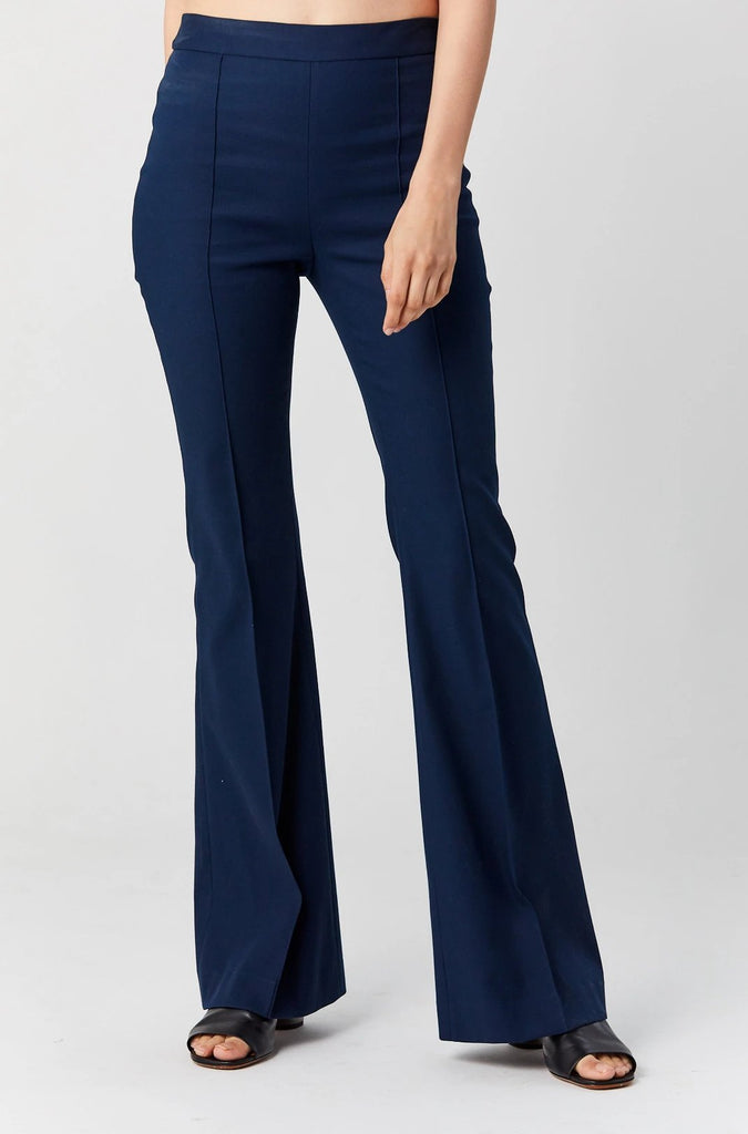 Pintuck Flared Pant, Navy